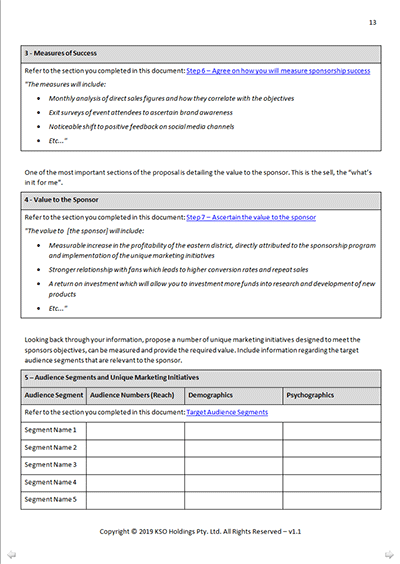 Sponsorship Proposal Worksheet
