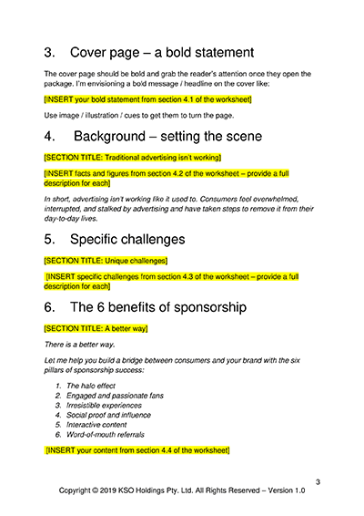 Sponsorship Pitch Template